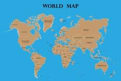 Wereldkaart met de namen van landen stock afbeeldingen