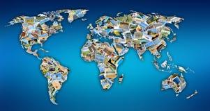 Wereldkaart met foto's stock fotografie