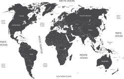 Wereldkaart met geografische objecten namen Stock Fotografie