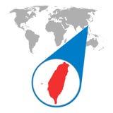 Wereldkaart met gezoem op Taiwan Kaart in loupe Vector illustratie Stock Foto's