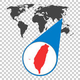 Wereldkaart met gezoem op Taiwan Kaart in loupe Vector illustratie Royalty-vrije Stock Afbeelding