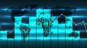 Wereldkaart met grafiekgrafiek en diagram, op de achtergrond van toekomstige digitale globale technologieën Digitaal technologiec vector illustratie