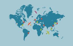Wereldkaart met kaartwijzers en vliegtuigen royalty-vrije stock foto's