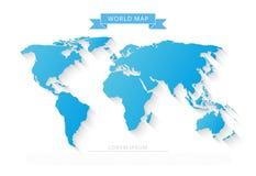 Wereldkaart met lange schaduw Stock Afbeeldingen