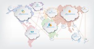Wereldkaart met Mededeling vector illustratie