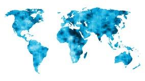 Wereldkaart met mozaïekachtergrond royalty-vrije illustratie