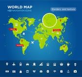 Wereldkaart met 22 pictogrammen Stock Afbeelding