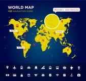 Wereldkaart met 22 pictogrammen Stock Foto