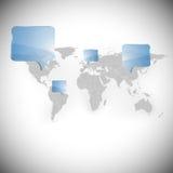Wereldkaart met van achtergrond dialoogdozen vector Royalty-vrije Stock Foto