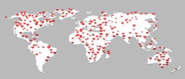 Wereldkaart met velen hartsymbool het 3d teruggeven stock illustratie