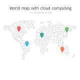 Wereldkaart met wolk die in veelhoekig ontwerp gegevens verwerken Elementen van Stock Foto