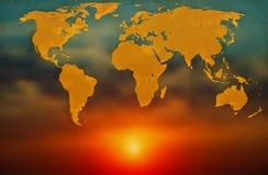 Wereldkaart op achtergrond van de dageraad stock illustratie