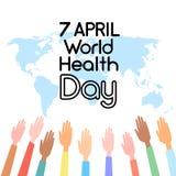 Wereldkaart op de Dag die van de Handengezondheid wordt opgeheven royalty-vrije illustratie
