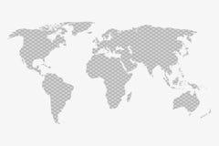 Wereldkaart op een grijze plaidachtergrond op een wit Royalty-vrije Stock Fotografie