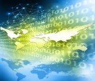 Wereldkaart op een technologische achtergrond, gloeiende lijnensymbolen van Internet, radio, televisie, mobiel en satelliet Stock Afbeeldingen