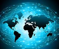 Wereldkaart op een technologische achtergrond, gloeiende lijnensymbolen van Internet, radio, televisie, mobiel en satelliet royalty-vrije illustratie