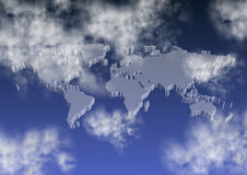 Wereldkaart op hemel Stock Afbeelding