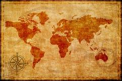 Wereldkaart op oud document stock afbeeldingen