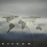 Wereldkaart in perspectief, infographic vector royalty-vrije illustratie