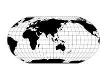 Wereldkaart in Robinson Projection met meridianen en parallellennet Gecentreerd Azië en Australië Zwart land met zwarte royalty-vrije illustratie