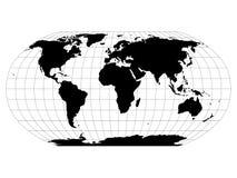 Wereldkaart in Robinson Projection met meridianen en parallellennet Zwart land met zwart overzicht Vector illustratie vector illustratie