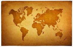Wereldkaart in uitstekend patroon op een oud document Stock Fotografie