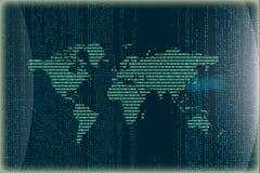 Wereldkaart van binaire code wordt gemaakt die het 3d teruggeven vector illustratie