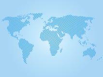 Wereldkaart van blauwe concentrische ringen op witte achtergrond Van het communicatie Moderne het ontwerpvector wereldwijd radiog vector illustratie