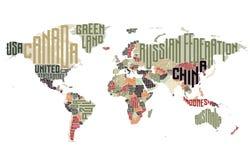Wereldkaart van de typografische namen die van het land wordt gemaakt Royalty-vrije Stock Foto