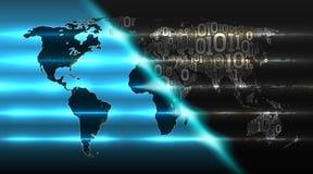 Wereldkaart van een binaire code met een achtergrond van abstracte elektronika Concept de wolkendienst, iot, ai, grote gegevens,  vector illustratie