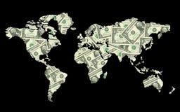 Wereldkaart van geldtextuur die wordt gemaakt. Stock Foto's