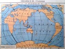 Wereldkaart van oceanengrenzen Royalty-vrije Stock Foto's