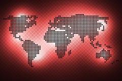 Wereldkaart van ronde punten Rode achtergrond vector illustratie