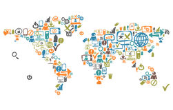 Wereldkaart van sociale Webpictogrammen dat wordt samengesteld Royalty-vrije Stock Foto