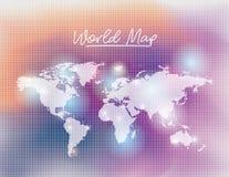 Wereldkaart in witte kleur en netsinaasappel als achtergrond die aan purple wordt gedegradeerd Royalty-vrije Stock Fotografie