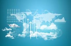 Wereldkaart, wolkenkrabbers en vliegend vliegtuig Stock Fotografie