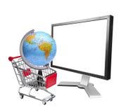 Wereldmarktconcept met lege LCD monitor Stock Foto