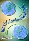 Wereldmilieu dag 5 Juni, vliegermalplaatje met Oostelijke en Westelijke Hemisferen op veelhoekige groene achtergrond met geel lic Stock Afbeelding