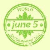 Wereldmilieu Dag Logo Stamp Icon Stock Illustratie