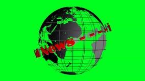 Wereldnieuws het van letters voorzien en bol het roteren vector illustratie