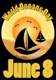 Wereldoceanen Dag 8 Juni, affiche met varende botensilhouetten op overzeese oppervlakte in gouden zonsopgang licht, vectormalplaa Stock Afbeeldingen