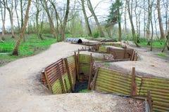 Wereldoorlog één geulen op heuvel op de gebieden België van Vlaanderen Stock Fotografie