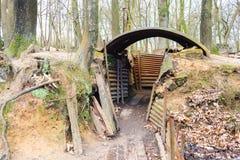 Wereldoorlog één geulen op heuvel op de gebieden België van Vlaanderen Royalty-vrije Stock Fotografie
