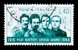 Wereldoorlog Ihelden, 50ste verjaardag van de dood van C Battisti, Stock Afbeelding