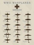 Wereldoorlog IIgevechtsvliegtuigen in de illustraties van de silhouetlijn door landen, Amerika, Groot-Brittannië, Duitsland, Japa Stock Afbeelding