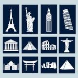 Wereldoriëntatiepunten, geplaatste pictogrammen Stock Fotografie