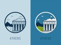 Wereldoriëntatiepunten Griekenland Reis en toerismeachtergrond Lijnpictogrammen Vector vector illustratie