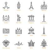 Wereldoriëntatiepunten - Vector Geplaatst Lijnpictogram - Deel I stock illustratie