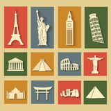 Wereldoriëntatiepunten, vlakke geplaatste pictogrammen Stock Afbeelding