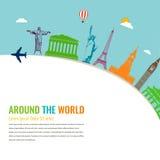Wereldoriëntatiepunten Reis en toerismeachtergrond Vector Stock Foto